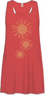 product image for Soul Flower Organic Cotton Radiance Racerback Tank Top Dress with Pockets, Red Ladies Flowy Graphic Women's Dress