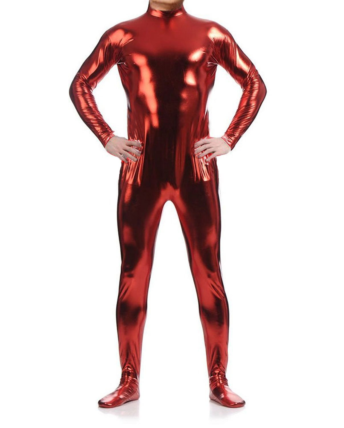 WOLF UNITARD Long Sleeve Shiny Metallic Zentai Bodysuit