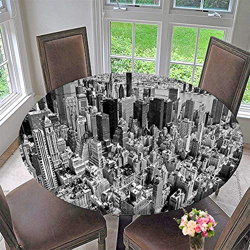 (Mikihome Round Tablecloth Wiev Cityscape of New York Urban Life Photograph Art Print Grey and White for Kitchen 40