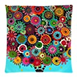 WECE Comfortable & Beautiful Patterns And Strips Mexican Style Tree Flower Floral Pillow Case 18x18 inch (one side)