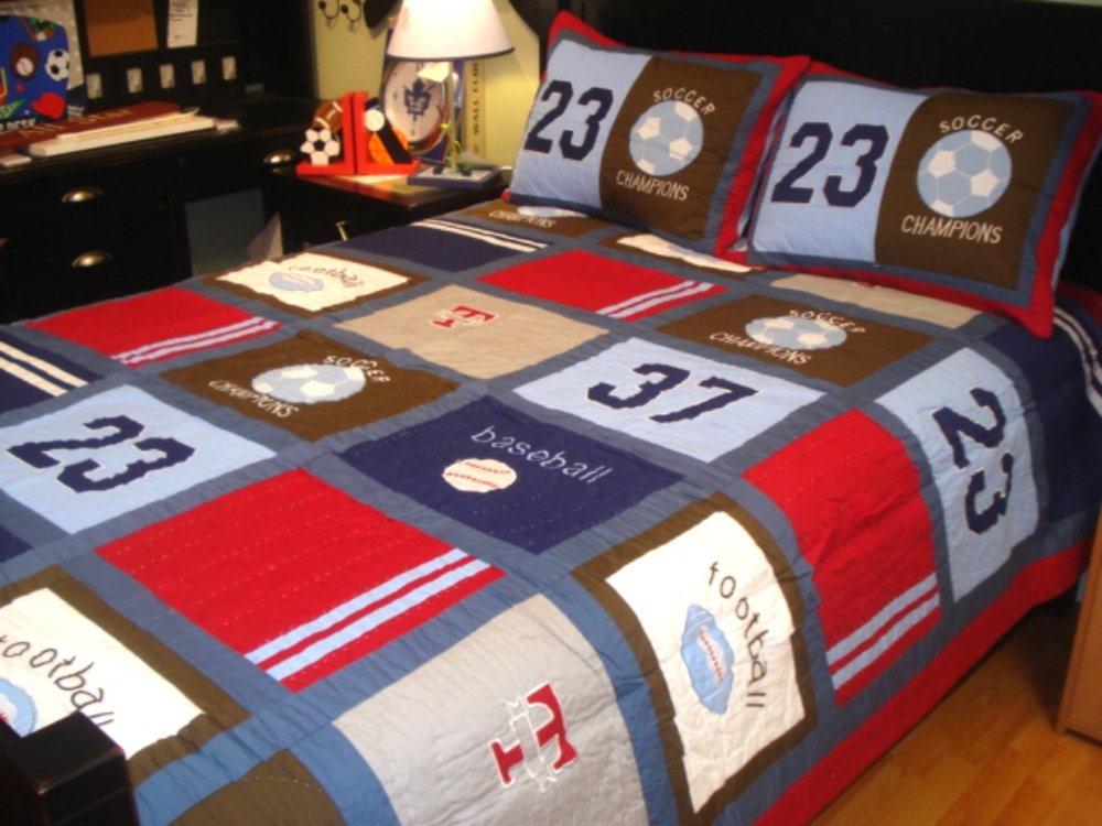 Boys Bedding Twin, Patchwork Style Quilts For Boys With Appliques, 1 Sham, 100% Cotton, 68 x 86, Multiple Designs (CHAMPION)