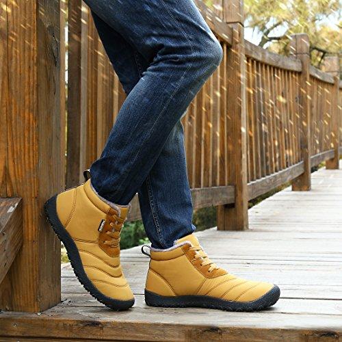 Blankey Hombre Y Para Mujer De Cachemir De Algodón Antideslizante Bota De Nieve Invierno Cálido Zapatos Al Aire Libre Tan Claro