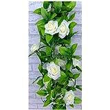 1 X Artificial Rose Silk Flower Green Leaf Vine Garland Home Wall Party Decor Wedding Decal (Beiges)
