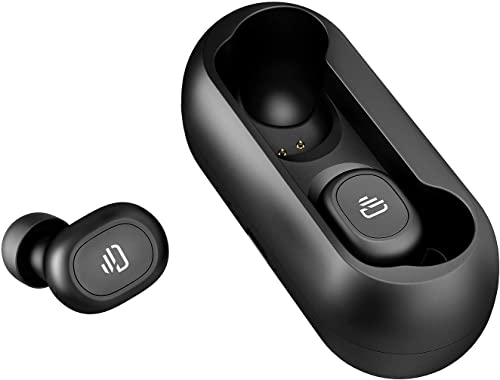 Dudios True Wireless Headphone, Bluetooth 5.0 Earbuds HiFi Stereo Sound Mini in-Ear Headset One-Button Control, 15 hrs Playtime, Auto Pairing -Upgraded Version Dark Black Dark Black
