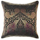 Avarada India Style Elephant Peacock Throw Pillow Cover Decorative Sofa Couch Cushion Cover Zippered 16x16 Inch (40x40 cm) Black