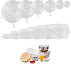 SELERS Silicone Stretch Lids,12 Pack of Reusable Silicone Durable Food Covers,BPA Free and Expandable to Fit Various Shape of Containers for Food Storage, Airtight,Microwave,Plates, Bowls and Pots