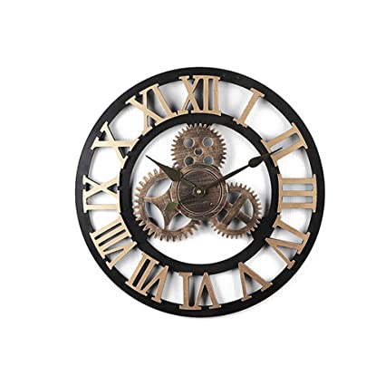 Amazon.com: LPD Gear Wall Clock Creative Retro Bar Wall Decorative Clock Industrial Wind Internet Cafe Beauty (Color : Gold, Size : 40cm): Home & Kitchen
