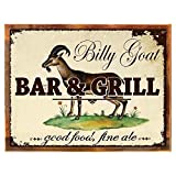 Cheap Wood-Framed Billy Goat Bar and Grill Metal Sign, Bar Sign, Vintage Advertising for kitchen on reclaimed, rustic wood