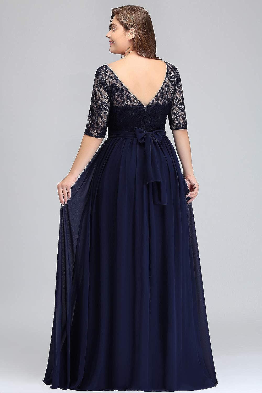 MisShow Damen Übergröße Abendkleid Spitze Chiffon mit Ärmel Elegant Lang  Ballkleid