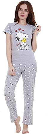 For You - Pijama Snoopy de dos piezas de verano para mujer Pijama con pantalón y manga corta de Mickie y Minnie para niña