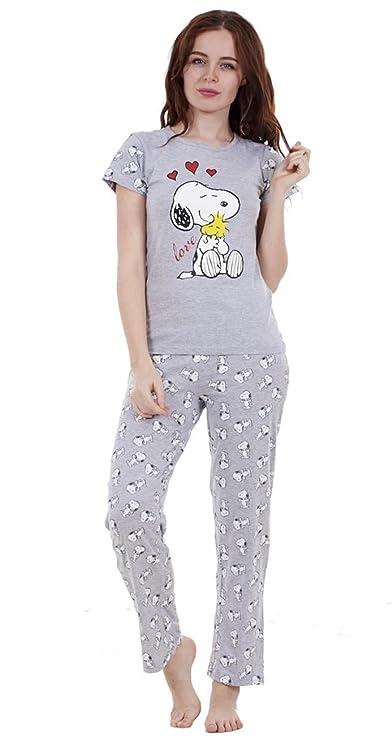 For You - Pijama Snoopy de dos piezas de verano para mujer Pijama con pantalón y manga corta de Mickie y Minnie para niña, Color- Love- Ensemble Pantalon, ...