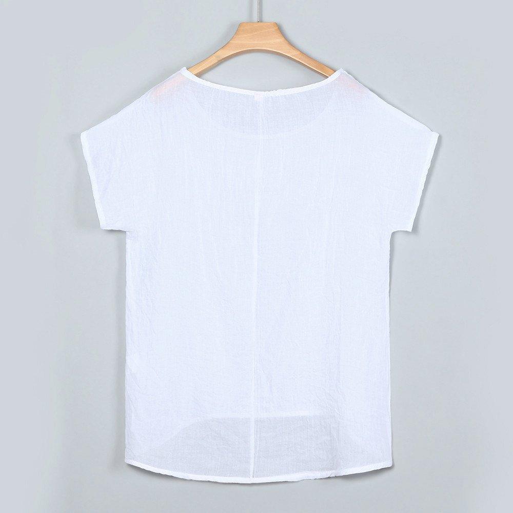 iLOOSKR Women Bat Sleeve Short Sleeve Shirt Casual Loose Top T-Shirt Pullover(White,XXXL) by iLOOSKR (Image #3)