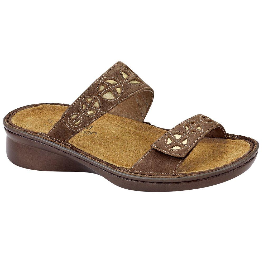 Naot Cornet Allegro Women Sandals, Saddle Brown Lthr/Glass Gold,Size - 38