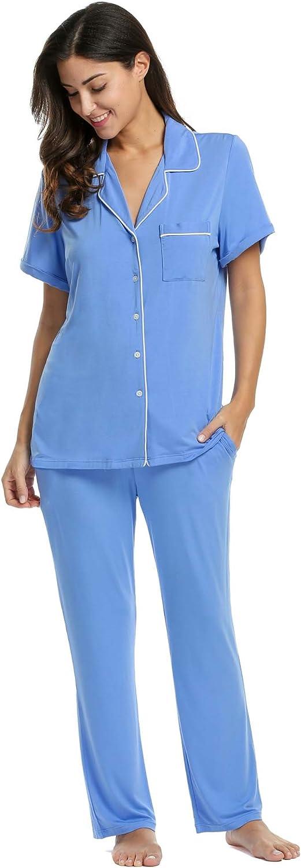Avidlove Pajamas Set Short Sleeve Soft Sleepwear Pjs Women Button Down Nightwear with Long Pants S-XXL