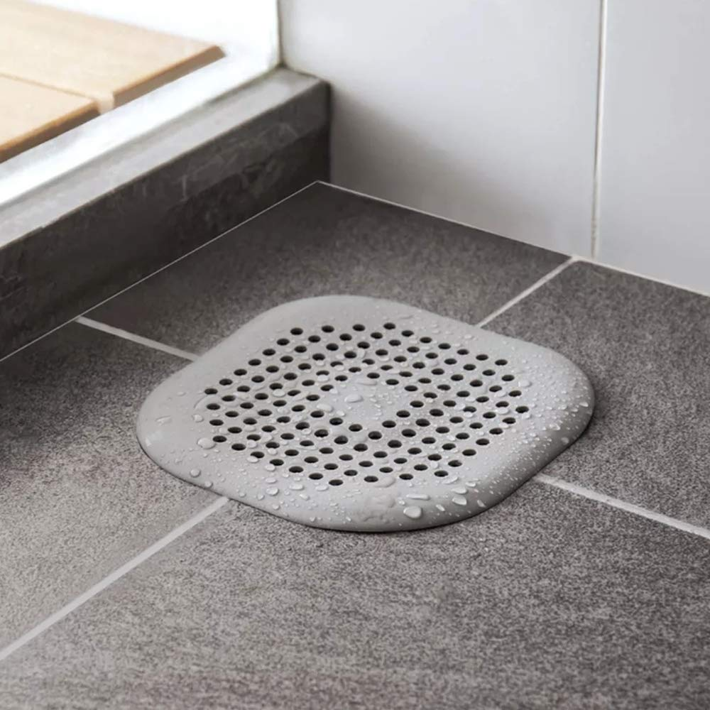 NOTSEK Shower Drain Covers, Silicone Tube Drain Hair Catcher Stopper with Sucker for Bathroom Kitchen, Rubber Bathtub Sink Strainer Plug Filter Trap Home Drain Protectors (Grey)