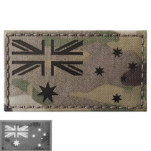 Australia Laser (Australia Flag Multicam Infrared IR Laser Cut 3.5x2 Reflective IFF Tactical Morale Touch Fastener Patch)
