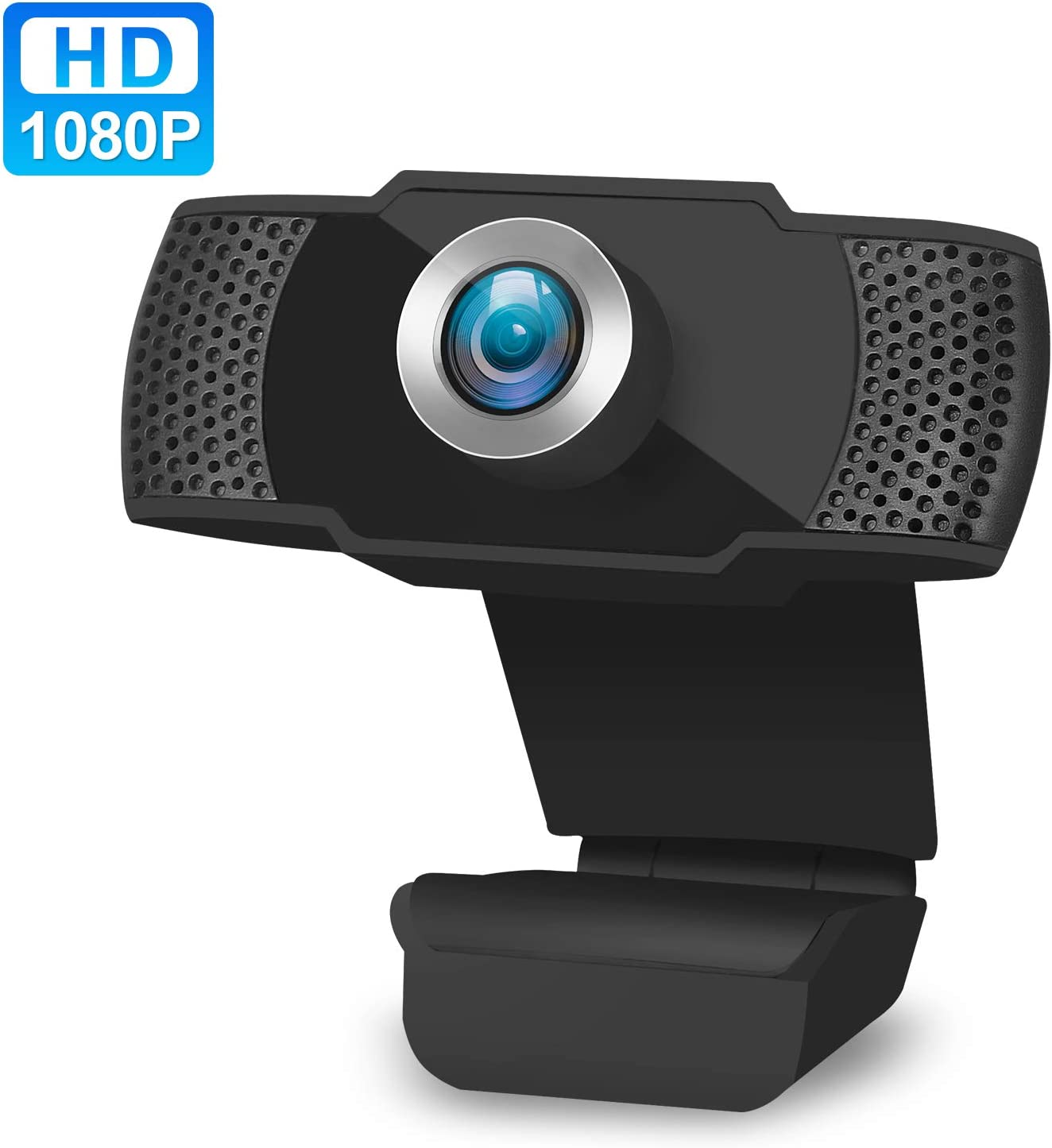 1080P USB HD Webcam, PC Cam 90 Degree Computer Web Camera with Auto Light Correction for Laptop/Desktop/TV with Mic for Video Streaming, Gaming, Recording, Studying, Online Classes (Black)