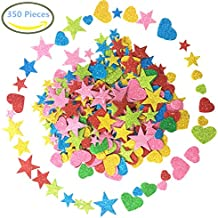 Foam Glitter Stickers Self Adhesive, Mini Heart and stars Shapes for Kid's Arts Craft Supplies Greeting Cards Home Decoration Heart Valentine's Day (350 Pieces)