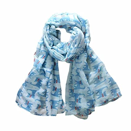 Pañuelo Hunpta con estampado de gatos, largo, azul celeste