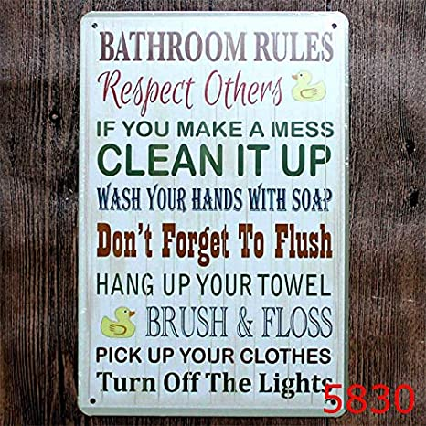 Fabulous Amazon Com Novelty Funny Sign Bathroom Rules Respect Others Beutiful Home Inspiration Semekurdistantinfo