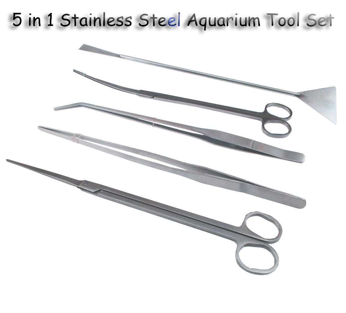 Runytek 5 in 1 Stainless Steel Aquarium Tank Aquatic Plant Tweezers Scissor Spatula Tool Set for Aquariums and Fish Starter Kits