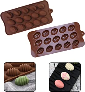 15 Holes Easter Egg Mold Silicone Egg vTrays for Soft & Hard Candy Chocolate Ice Cake Gummy Mousse Baking Mold for Dessert Non Stick BPA Free Silicone Food Shape DIY Accessories