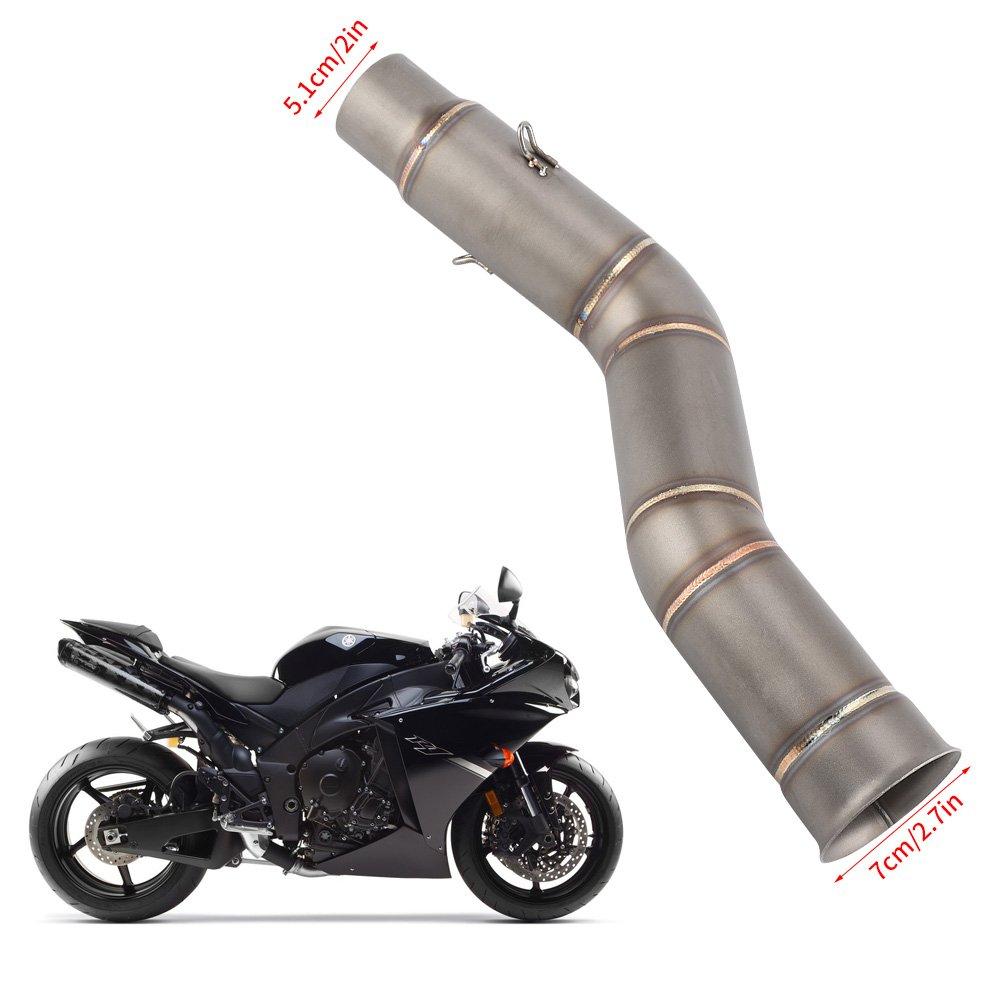 tubo de escape lateral modificado para R1 2009-2014 Manguera de conexi/ón central para tubo de escape de moto