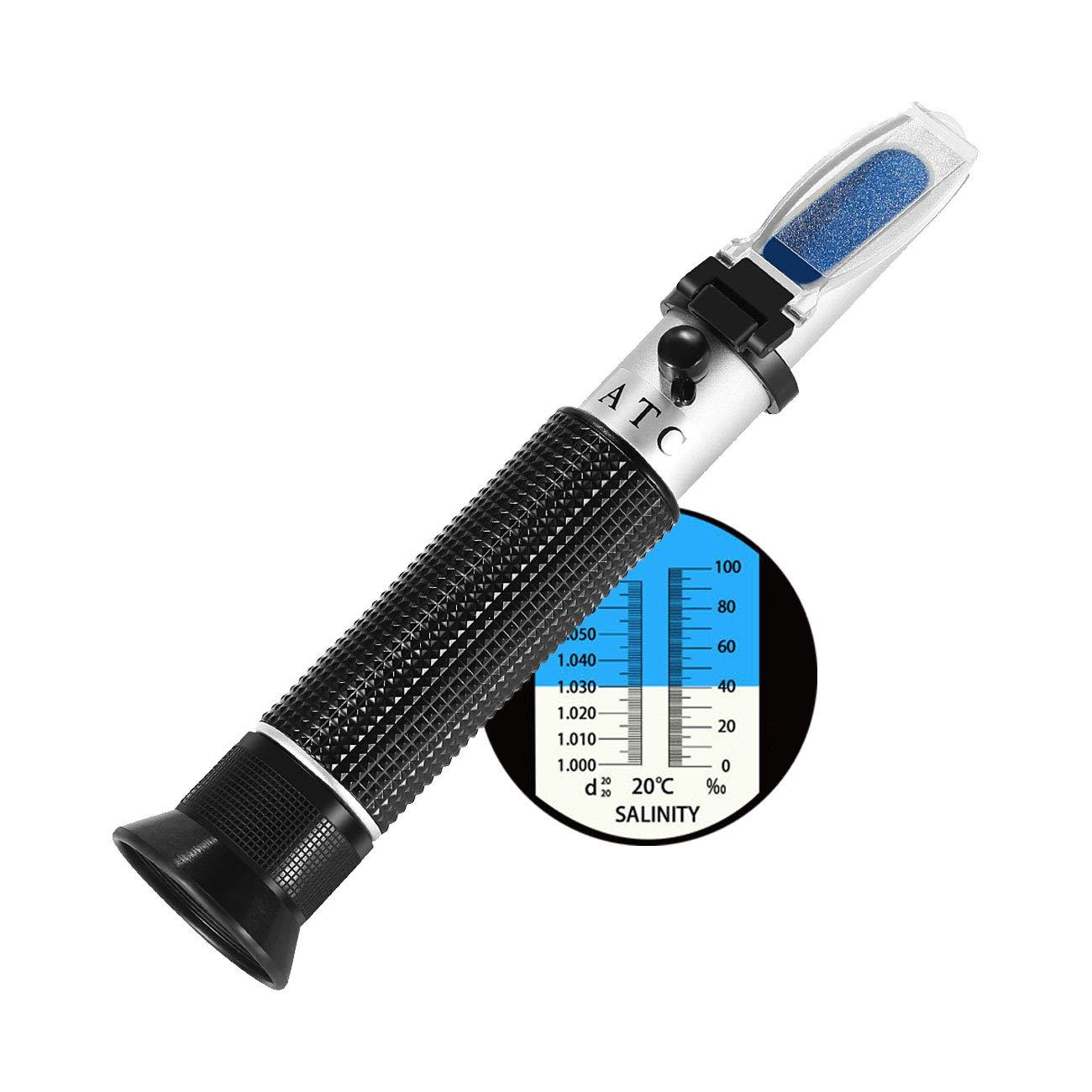 Refractómetro para acuario de agua salada de W-Unique, ATC, 0-100 ppt