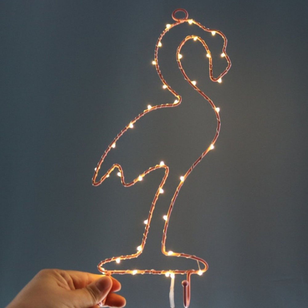 MyEasyShopping Party Decoration Window Picture 3D LED Table Night Light Warm White Flamingo