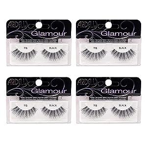 Ardell False Eyelashes Glamour Strip Lashes 113 Black 4 Pack