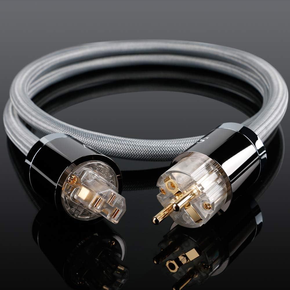 DV//AV amplificateur c/âble dalimentation avec Prise Schuko C/âble dalimentation Haut de Gamme SKW Audiophile Prise UE pour Caisson de Basses 1M, Noir