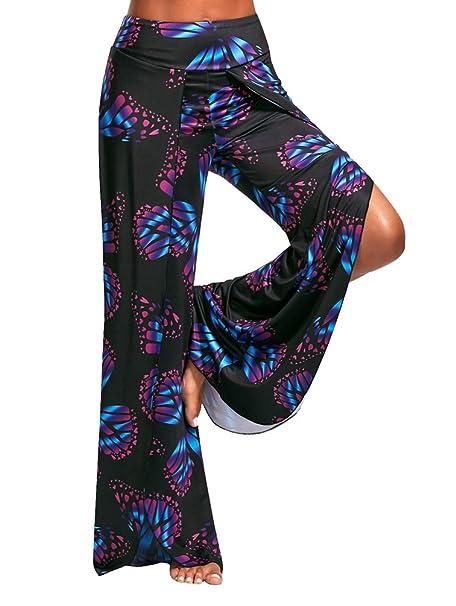 YuanDian Mujer Verano Casuales Impresión Alto Split Pantalon ...