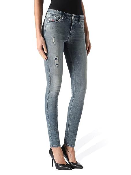 5140efc8ae Diesel Skinzee-Low 0851G Jeans de Mujer Flaco Flaco (Azul