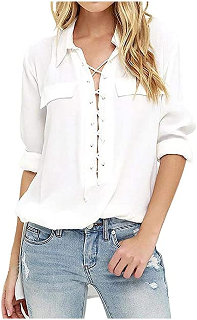 VJGOAL Camisas de Solapa para Mujer Moda Casual Color sólido ...