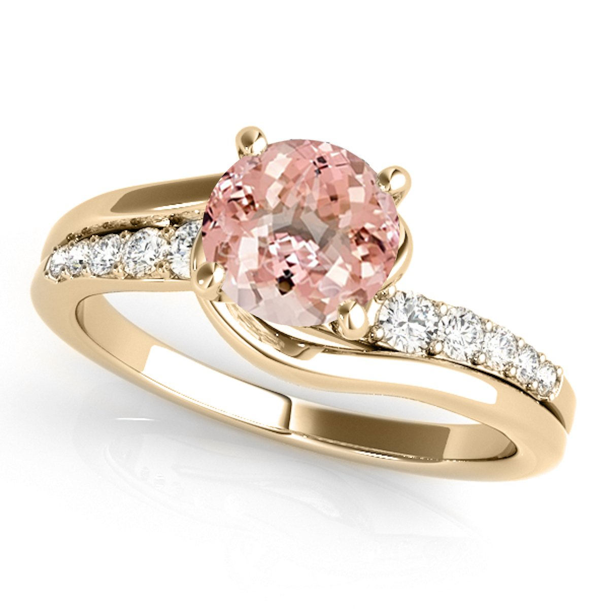 1.15 Ct. Halo Morganite And Diamond Engagement Ring Crafted In 14k Solid Yellow Gold
