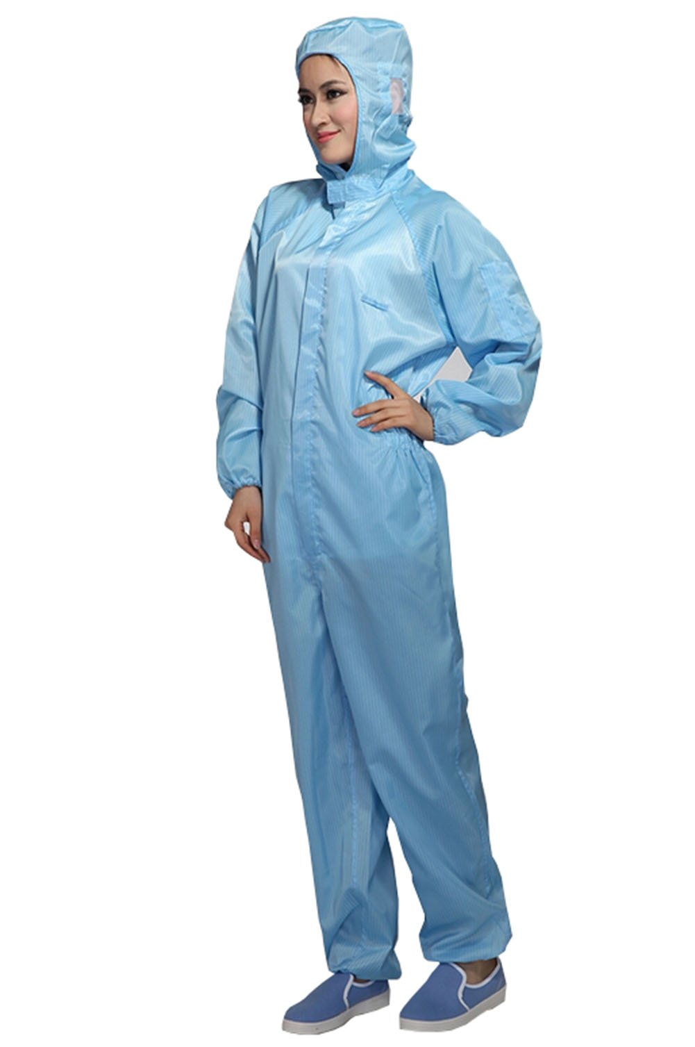 Olyer ESD Lab Zip Up Hooded Anti Static Jumpsuit Coverall Uniform Spray Paint Work Clothes