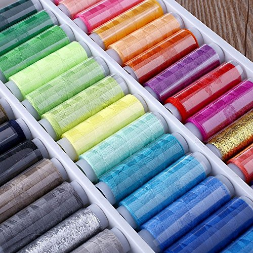 Polyester Embroidery Spools (LiCHY 39 Color Spools Polyester Embroidery Sewing Machine Line Thread Fabric Line (Size: 39))