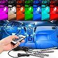 EJ's SUPER CAR 4pc. Color 7 Color LED Car Interior Lighting Kit,car interior atmosphere light and Wireless Remote Control