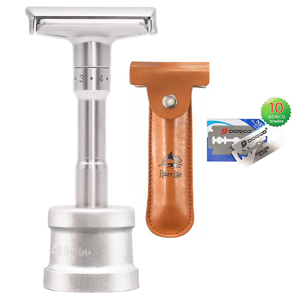 Safety Shaving Razor Set, River Lake RZ700 Long Handle Stainless Adjustable Double Edge Classic Safety Shaver Razor (1 Razor, 1 Stand, 1 Leather Protective Sleeve & 10pcs DORCO blades)