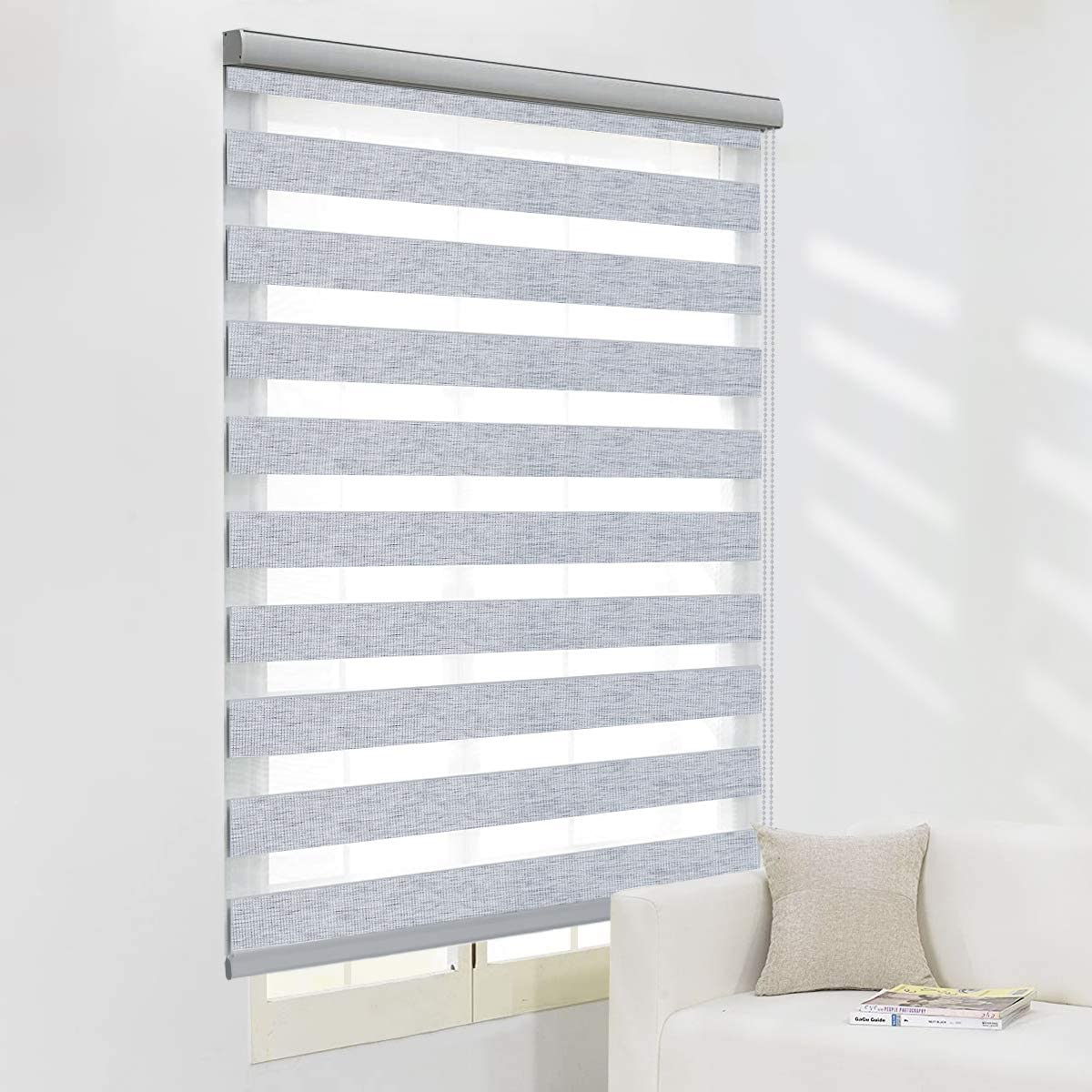 NICETOWM Zebra Roller Blind for Office Window, Sheer or Privacy Light Control, Day and Night Window Curtain (Maxium Height 72inch, Grey Color, Width 34 inch)