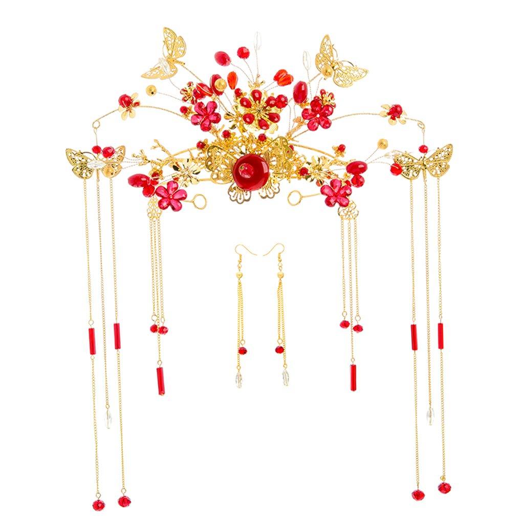 Sharplace Serre-Tête Couronne Cheveux Boucles d'oreilles Pendentif Ornement Floral Papillon Mariée Mariage Chinois