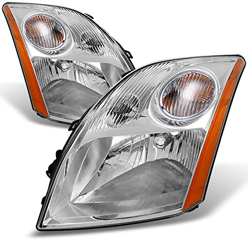 Fits Sentra Base | S | SL | SE-R Clear Headlights Driver Left + Passenger Right Side Replacement Set (Clear Headlight Set)