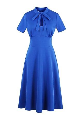 52b28c3044b Wellwits Women s Keyhole Cutout Bowtie Vintage Collared Dress Royal Blue S