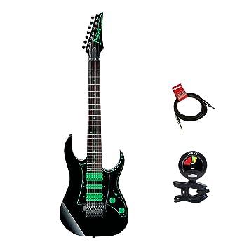 Ibanez UV70P Premium Steve Vai Universe - Guitarra eléctrica de 7 cuerdas en color negro con afinador de clip para guitarra y cable de instrumentos: ...