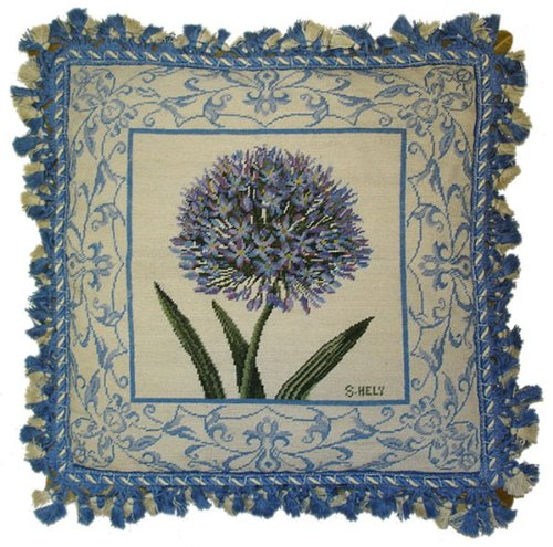 Needlepoint Blue (Deluxe Pillows Study in Blues - 18 x 18 in. needlepoint pillow)