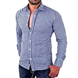 Longay Men's Plaid Shirt Plus Size Print Slim Fit Long Sleeve Casual Button Shirts Formal Top Blouse (M, Blue)