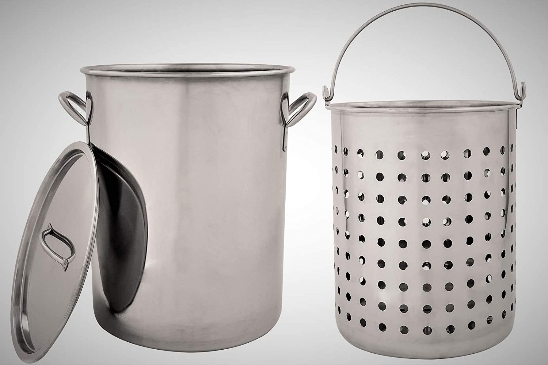 Premium Stock Pot with Lid- Stainless Steel Turkey Fryer Pot with Heavy duty Deep Fryer/Steamer Basket (26 Quart) Hophia AIBSUN-WG-15067
