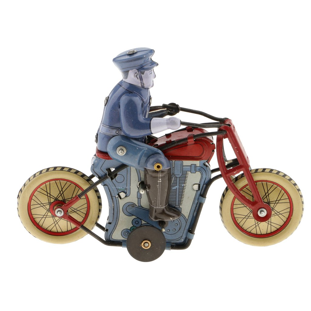 Dovewill Retro Wind up Policeman Riding Motorcycle Model with Key Clockwork Metal Tin Toy Collectible Gift