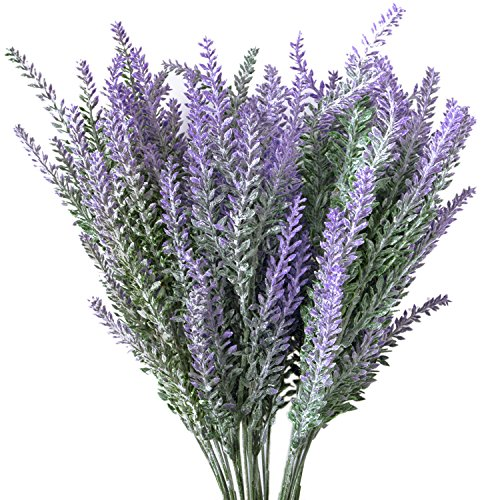 Hibery 6 Bundles Artificial Lavender Plant with Silk Lavender Flowers Lavender Bouquet for Wedding Decor, Home, Garden, Patio Decoration ()