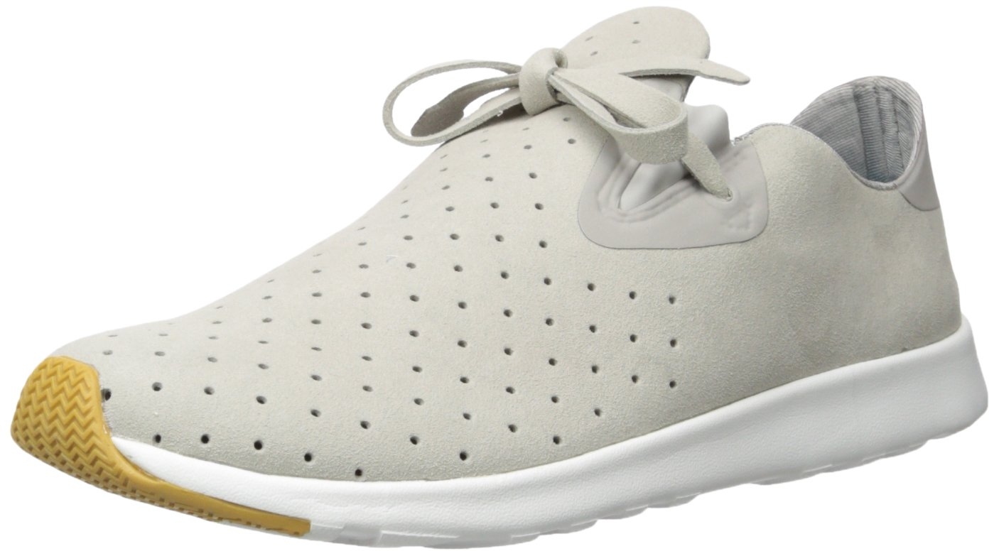 Native Unisex Apollo Moc Fashion Sneaker. Pigeon Grey/Shell White/Natural Rubber